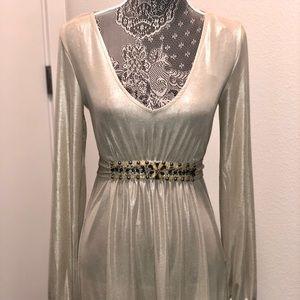ECI Shimmery Pearl Gray Mini Dress Med